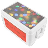 Multicolored Christmas lights. Add text or name. Chest Cooler