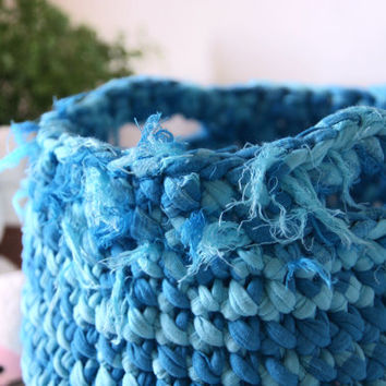 Crocheted Basket, Toy Basket, Baby boy nursery decor, Storage Basket, Home Decor, Kids Room Decor, Organizer Container
