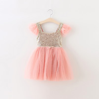 "The ""Lexi"" Infant + Toddler + Girls Pink and Gold Sequin Tutu Dress"