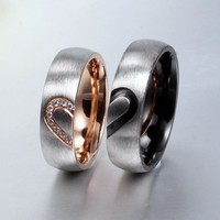 His and Her's Love Heart Rings, Puzzle Heart Couples Rings