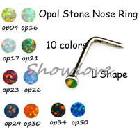 Showlove-L Shape Nose Ring Surgical Steel Opal Stone Nose Studs Bone Piercing Ring Mixed 10 colors