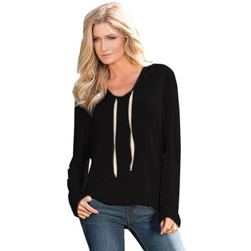 Tee Shirt  Women Hooded Long Sleeved T Shirt Solid Casual Loose Ladies Tops T Shirt Femme Women Clothing GS