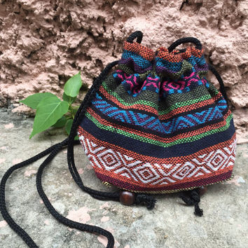 Ikat Bucket Cross body drawstring Festival Bags Purse Boho chic Aztec Hippies Styles Phone Case Pouch Bohemian woven gift pink orange blue