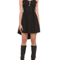 Royal Bones Black Skull Lace-Up Corset Dress