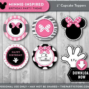 Minnie Mouse Cupcake Toppers | Birthday Party Printable Party Circles | Pink Black | Decorations & Invitation Available | Instant Download