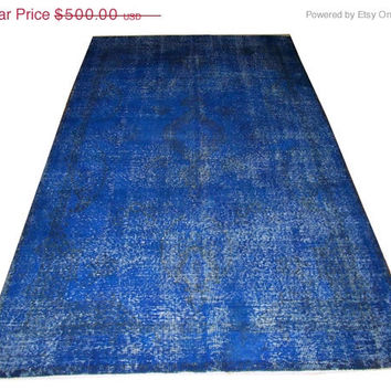 Sale Dark Blue Color Overdyed Handmade Rug  with Medallion Design 8'10'' x 5'4''  feet