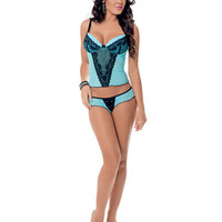 Lace Overlay W-molded Cups Cami Set W-adjustable Straps & Flutter Panty Icy Blue-black Lg