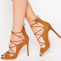Glamorous Tan Ghillie Heeled Sandals