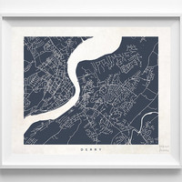 Derry, Ireland, Print, Map, Poster, State, City, Street Map, Art, Decor, Town, Illustration, Room, Wall, Customize, Dorm, Bedroom [NO 978]