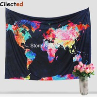 New Colorful World Map Printed Mandala Tapestry Wall Hanging Hippie Tapestry Cotton Throw Bedsheet Boho Wall Home Decor Tapestry