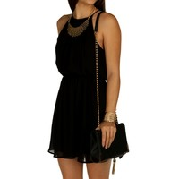 Black Soft Pleats Dress