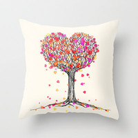 Love in the Fall - Heart Tree Illustration Throw Pillow by micklyn