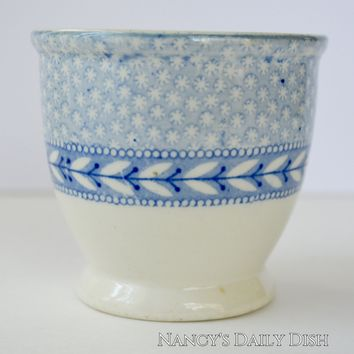 Antique Light Blue Transferware Handleless Cup Tea Bowl Cup English Staffordshire