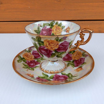 June Roses Tea Cup & Saucer / Lustreware Japanese Roses Tea Cup Set