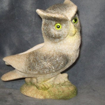 Vintage Silver/Black/White Owl Figurine/Planter with Green/Yellow Eyes