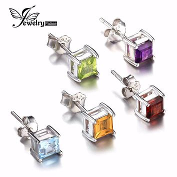 Square Gemstone Jewelry Natural Amethyst Citrine Garnet Peridot Topaz Earrings Stud Genuine 925 Sterling Silver Jewelry Brand