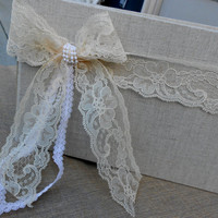 Gorgeous Lace and Pearls Wedding Guest Book / Wedding Sign In Book / Lace Wedding / Rustic Wedding / Wedding Guest Sign In Book