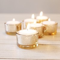 """Set of 6 Mercury Glass Candle Holders in Gold - 1.25"""" Tall"""
