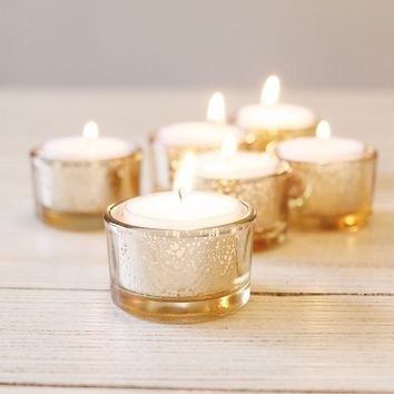 "Set of 6 Mercury Glass Candle Holders in Gold - 1.25"" Tall"