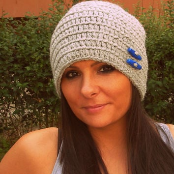Gray crochet hat,grey buttons hat,grey slouchy hat,crochet woman hat,crochet winter hat,woman accessories