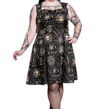 Plus size Galaxy Cosmic Gothic Magical Hamsa Party Dress by Spin Doctor