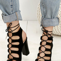 Obsessed Black Suede Lace-Up Heels
