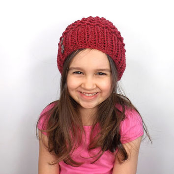 SALE Knit Textured Kids Slouchy Hat /CRANBERRY/, Unisex Kids Slouchy Beanie, Children Toque, Gift Idea