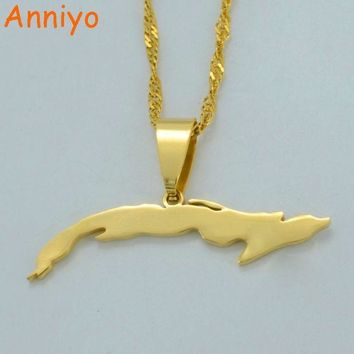 ac spbest Anniyo (Gold or Silver Color)Small Size Cuba Map Necklaces for Women,Map of Cuba Charm Pendant Jewelry With Thin Chain #007121