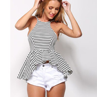 Halter Striped Peplum Top
