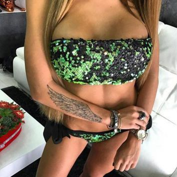 Sexy fashion Sequins off shoulder strapless pure green two piece bikini (four color) swimsuit