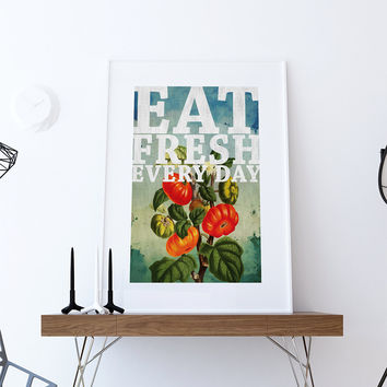 Kitchen Print Kitchen Decor Tomatoes Art Rustic Farmhouse Giclee Print on Cotton Canvas and Paper Canvas Poster Home Wall Art