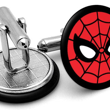 Spiderman Mask Black Cufflinks