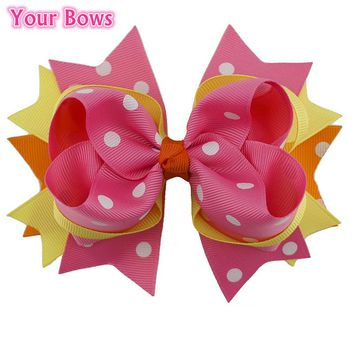 1PC 5.5Inches Big Stacked Boutique Hair Bows Girls Hair Clip Bowknot Shape with Dot Pattern Hairpins Flower Headband