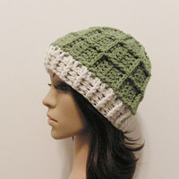 Epic Ribbed Squared Beanie - Lettuce and Eggshell - Made to order - Mens and womens hat