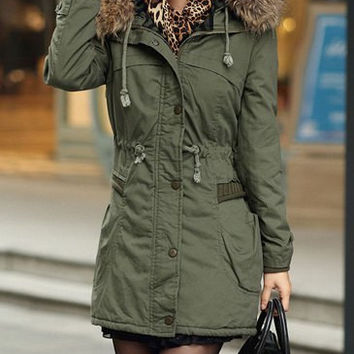 Army Green Long Sleeves Drawstring Hooded Coat