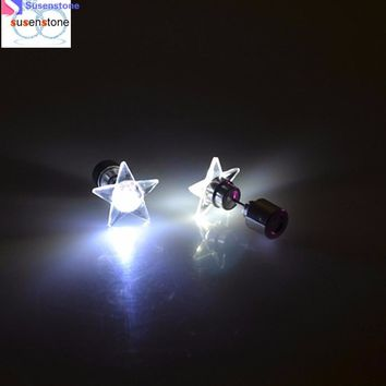 LED five-pointed star light Light Up LED Bling Ear Studs Earring