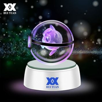 HUI YUAN 3D Crystal Ball LED Lamp For  Series Pikachu/Gengar/Jigglypuff 5CM Desktop Decoration Light Glass Ball HY-668Kawaii Pokemon go  AT_89_9