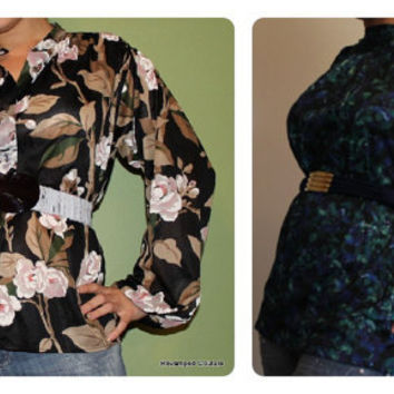 Lot of 2 tops Gathered neck Puff sleeve 70's Vintage Navy & green floral blouse