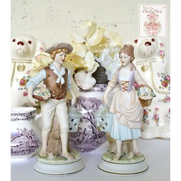 Antique Pair Figurines Boy & Girl w/ Baskets of Flowers Lanterns Birdcages Hand Painted