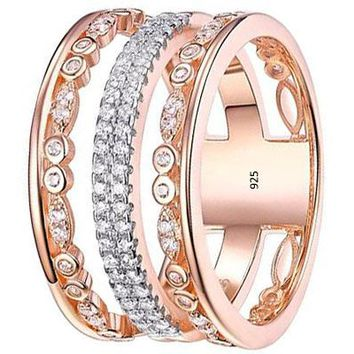 Wide Wedding Band White AAA Cz 925 Sterling Silver Rose Gold Eternity Gemstone Ring