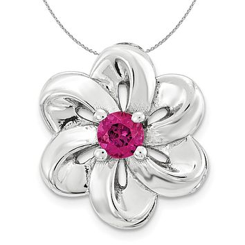 Silver and Created Ruby Stackable Small Flower Slide, 12mm Necklace