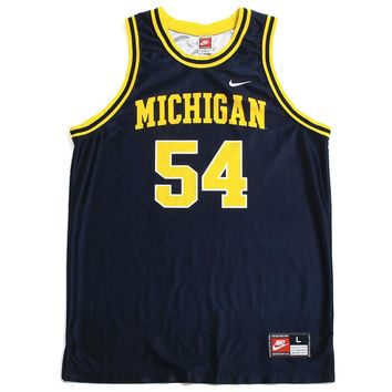 University of Michigan #54 Tractor Traylor Nike Basketball Jersey Navy (Large)