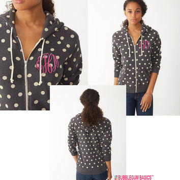 POLKA DOT Jacket Hooded Cotton Fleece Personalized Embroidered Monogram Full Zip Hoodie Custom Initials - Ladies Fit