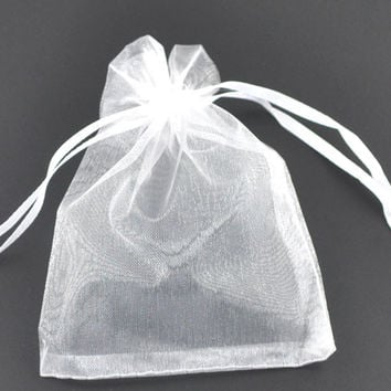 DoreenBeads Gift pouch &bag,organza,white,with draw,wedding,9x7cm. 5 pc