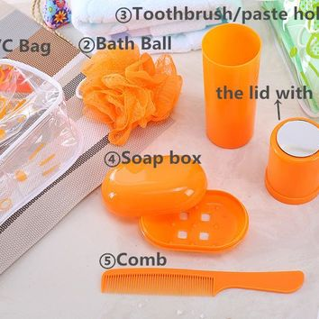 Kawaii Fashion 5 Piece Set Travel Bathroom Products Bathroom Set Bag+Toothbrush Holder+Soap Box+Comb+Bath Ball