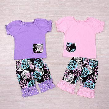 3Pcs Kids Toddler Baby Girl Sister Tops Pocket Match Pant Headband Outfit Set Clothes New Summer Children Clothes