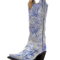 Corral Women's Fluorescent Blue Tribal Embroidery Boot - R1199