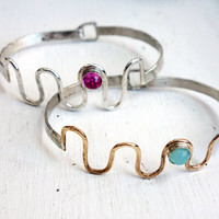 Squiggle Bracelet - Handmade Bracelet in Sterling Silver with Pink Sapphire