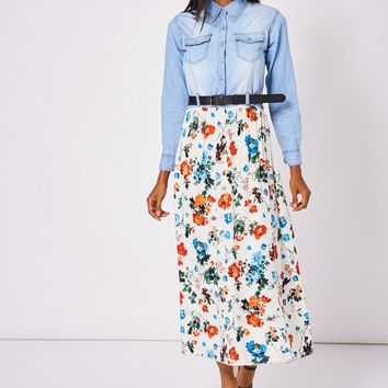 Denim Belted Maxi Dress With Floral Print