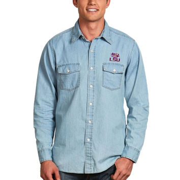 LSU Tigers Antigua Chambray Button-Up Long Sleeve Shirt – Light Blue